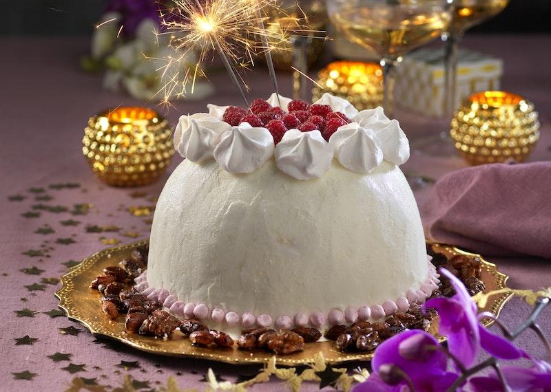 Glassbomb med vit choklad och hallon.