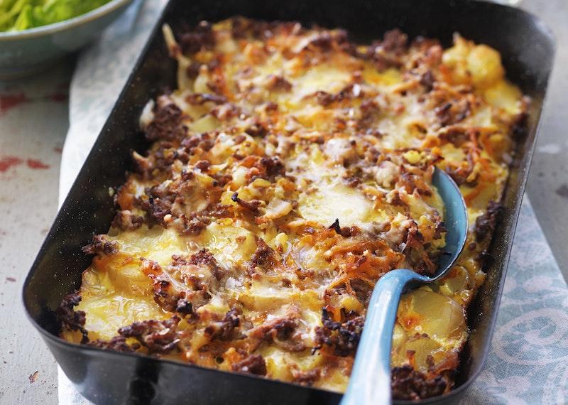 Köttfärsgratäng med potatis.