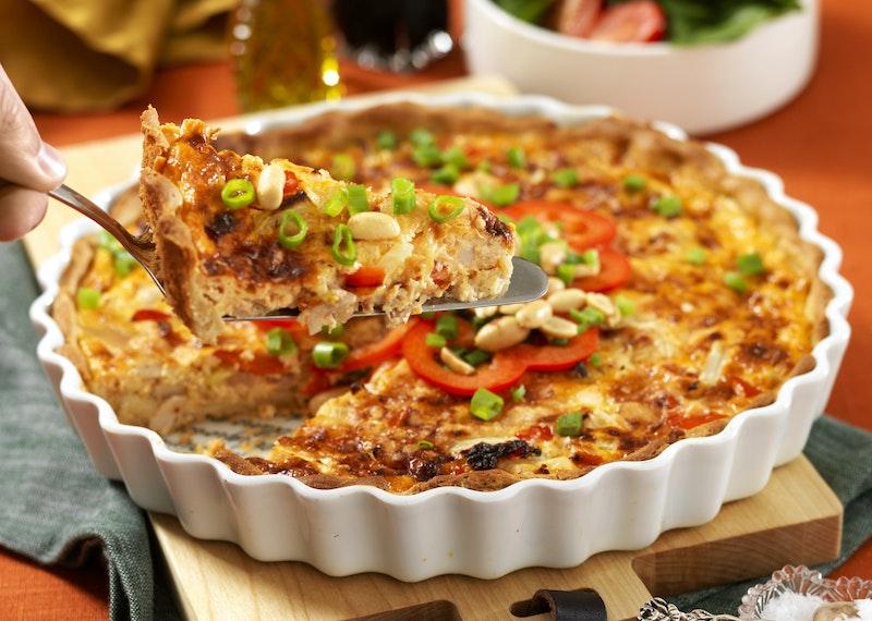 Krämig kycklingpaj med paprika och curry.